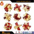 skill 3D games for kids brain teaser toys wood cross puzzle 9 in 1 set