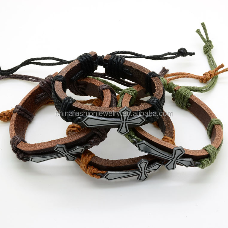 2016 Classical Handmade Cheap Exquise Cross Punk Leather Bracelet
