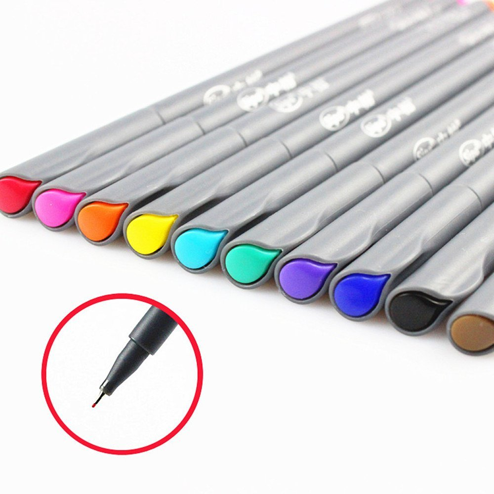 10 Colors Fine Point Paint Markers for Bullet Journal, Planner and Coloring Book fineliner pen