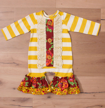 CONICE NINI brand golden stripe fall rompers