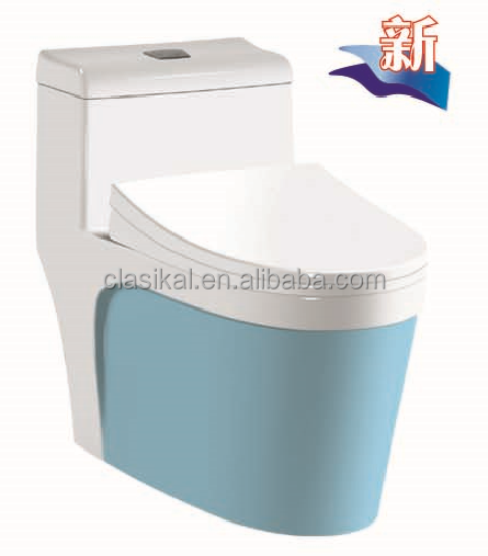 DK-8810B China sanitary ware one piece blue ceramic toilet