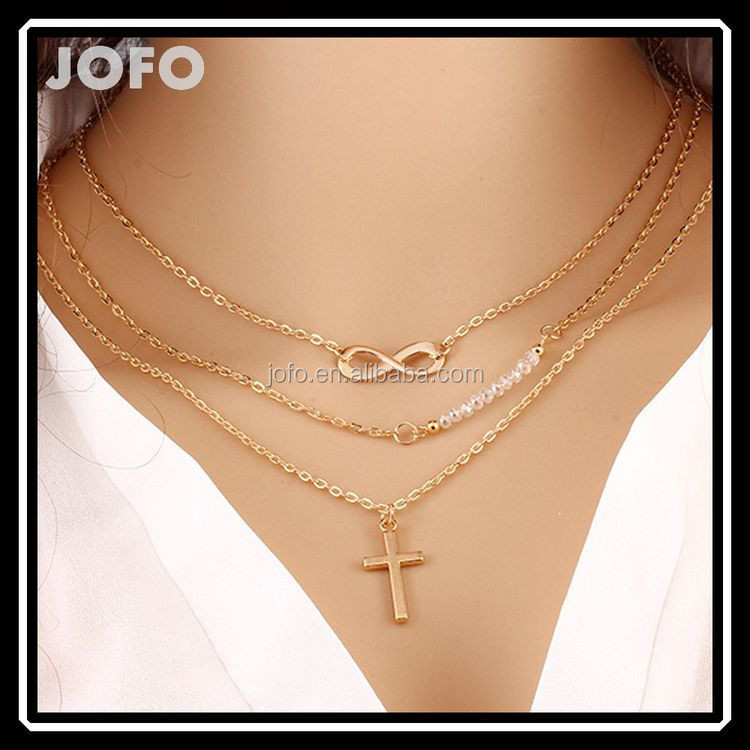2015 Trendy Three Layers One Direction Cross Chains Necklace, 2015 Cheap Fashion Jewelry Made In China wholesale