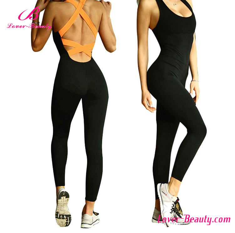 Fashion new design crisscross sports bodycon orange sex jumpsuit