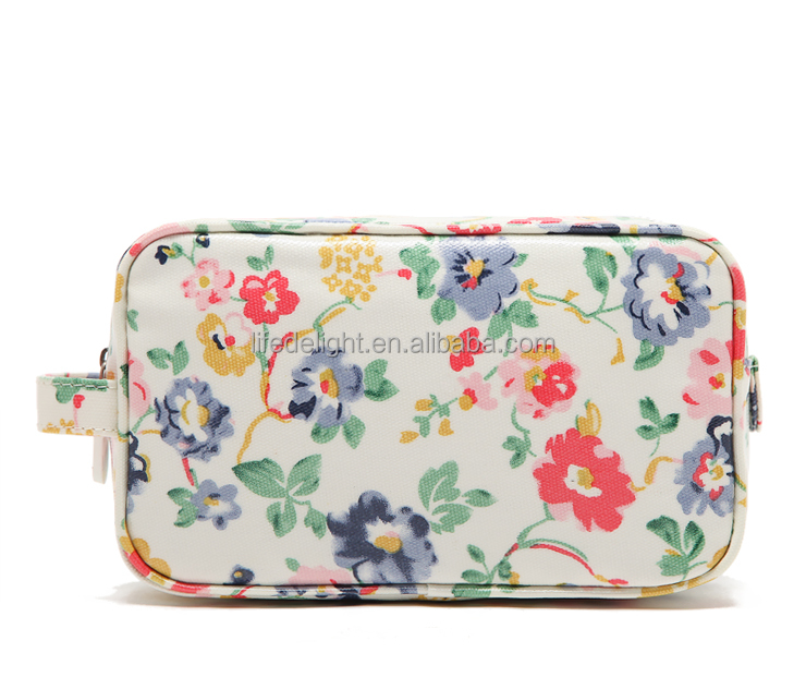 countryside style mini printed flower laminated canvas cosmetic pouch, waterproof coated canvas handle zipper make up pouch