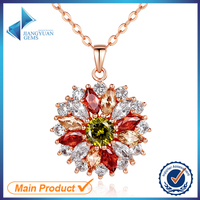 china women artificial diamond flower crystal pendant imitation cubic zirconia charm necklace jewellery