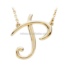 Fashion Cheap Script Initial Necklace 14K Yellow Gold Letter P Necklace