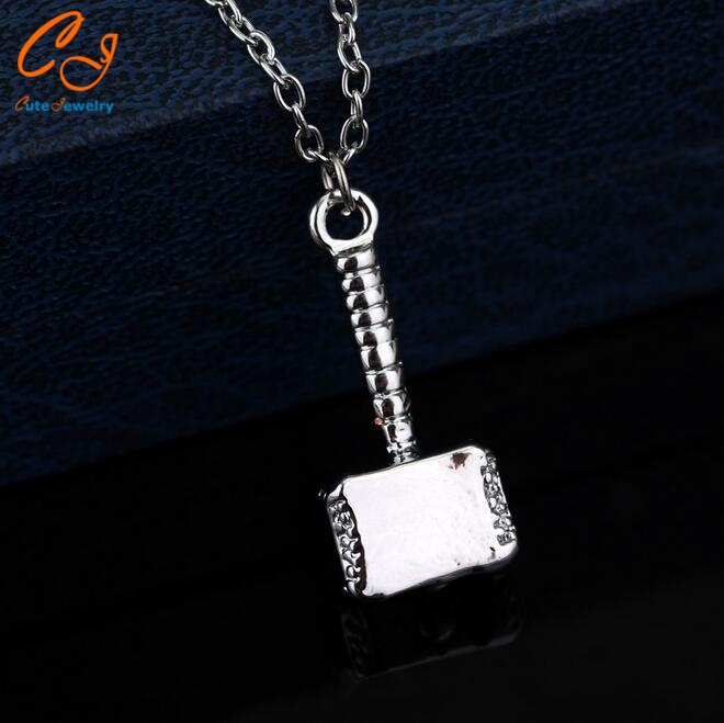 Movie Jewelry Thor Hammer Necklace Thor The Dark World Hammer Pendant shinning metal Chain Necklace