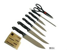 8 pcs black PP handle kitchen knives set with wood block