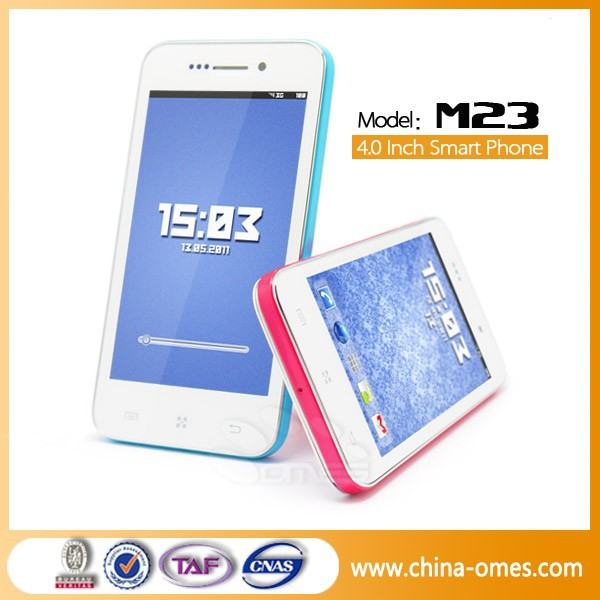 Low Cost Model M23 4 inch MTK6572 3G Dual Sim 512MB+4GB 0.3MP+2MP micromax mobile