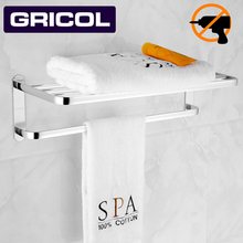 Gricol bath towel holder Towel rack 6063 space aluminum Wall-Mounted Double Layer Towel shelf for Hotel&Home