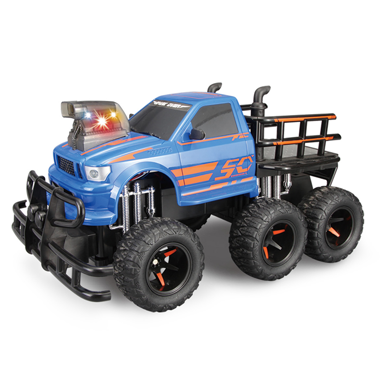 Latest design kids 4 channels 6 wheels remote control blue color rc car with battery charger for sale