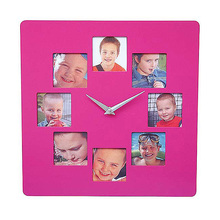 square shape indoor decor plastic photo frame wall clock