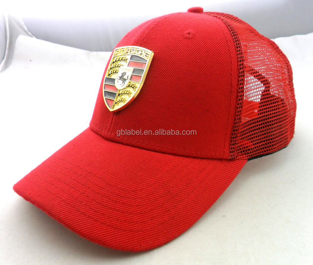 cheap wholesale red polyester metal tag customized fitted <strong>hats</strong>
