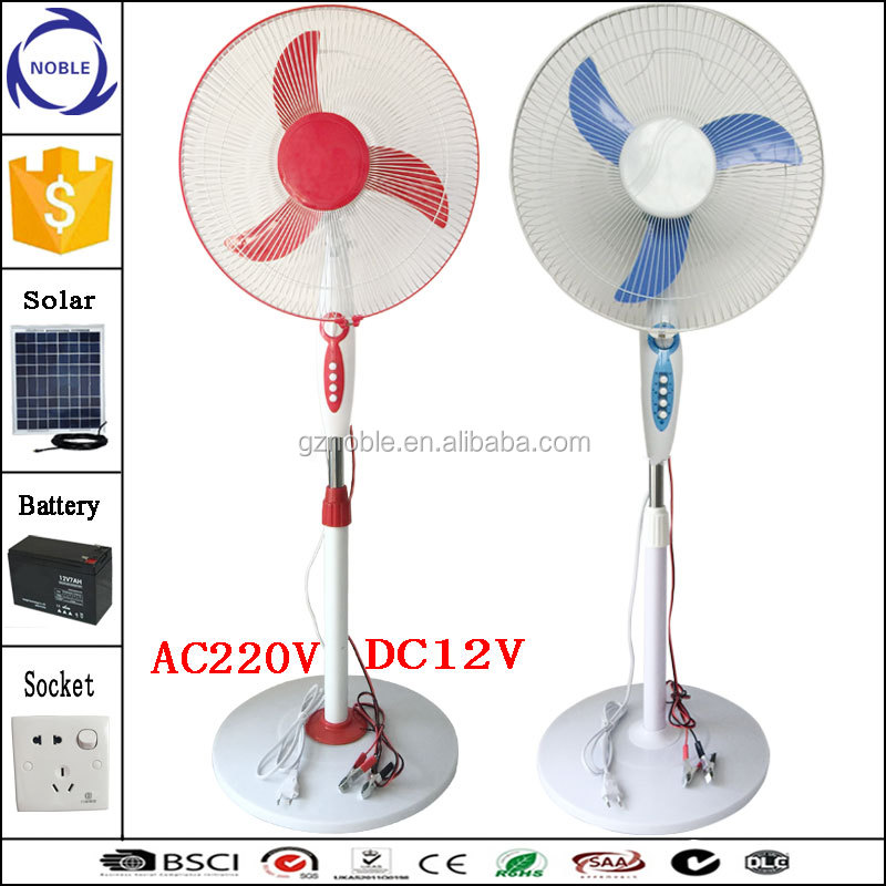 Guangzhou factory double voltage ac220v/dc12v solar ac dc fan with timer