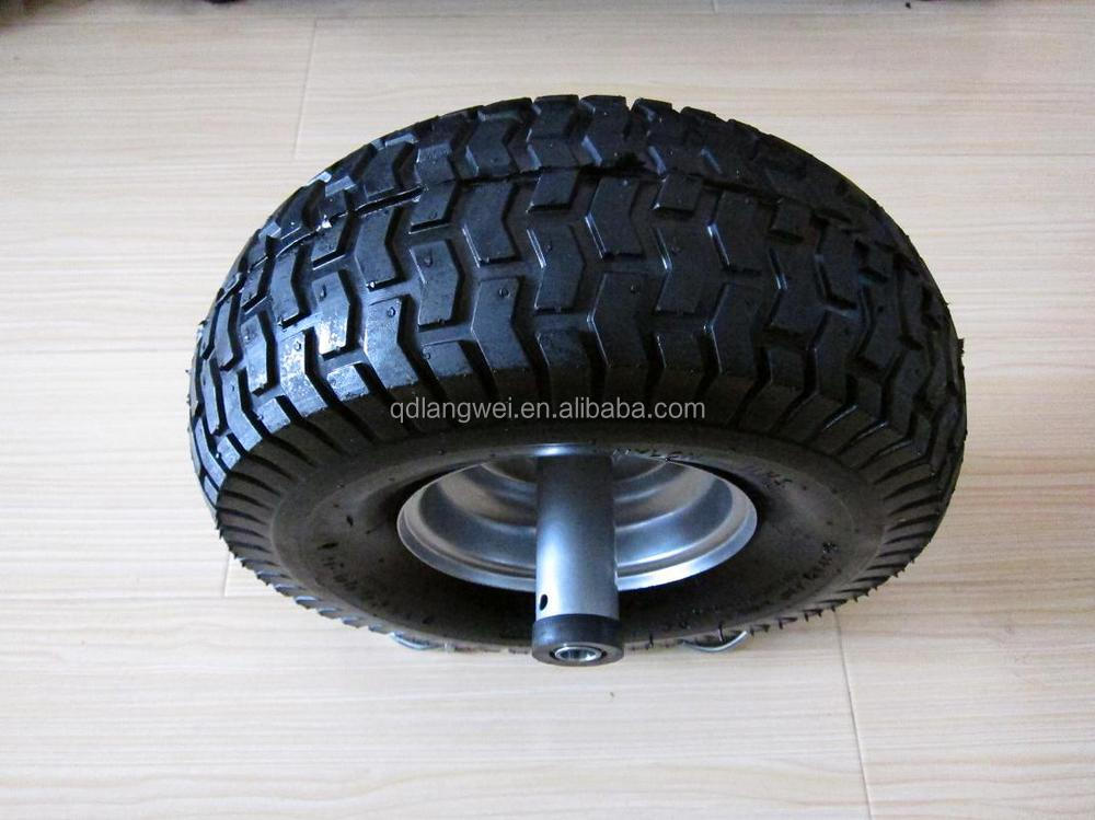 "flat free tire 4.00-8 wheel barrow wheel 6"" toy rubber wheels"