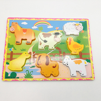 Animal puzzle for funny kids educational wooden toy