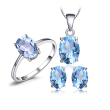 JewelryPalace Jewelry Sets Oval 5.5ct Natural Sky Blue Topaz Birthstone Solitaire Ring Stud Earrings Pendant Necklace For Women