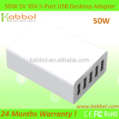 Kabbol 50W 10Amp 5-port Charging Docking Station with Smart IC for HTC One,Smartphones,Bluetooth Speakers & Headsets etc.