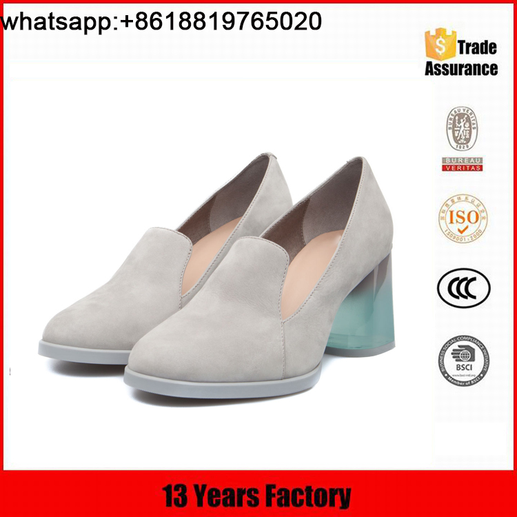 Most popular suede leather upper square thick light blue heel lady dress softy shoes
