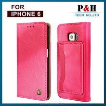 Vintage Customized Litchi Grain Genuine Real Cow Leather Flip Cover Case For iPhone 6 / 6 Plus