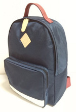 dark blue school backpack with PU logo