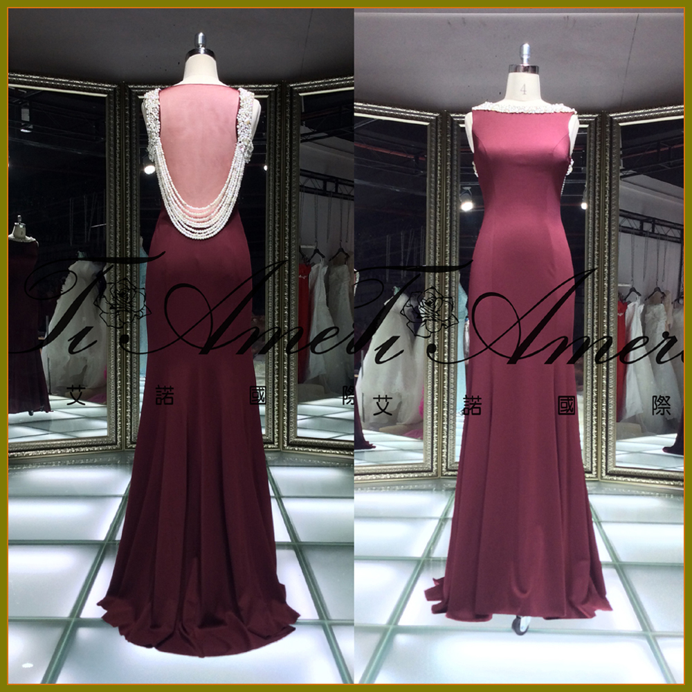 TWX7590J Hot selling wine red high quality satin with pearl sexu back see through evening dress for seniors
