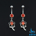 14g stainless steel siam jeweled zircon flower dangling belly ring navel piercings