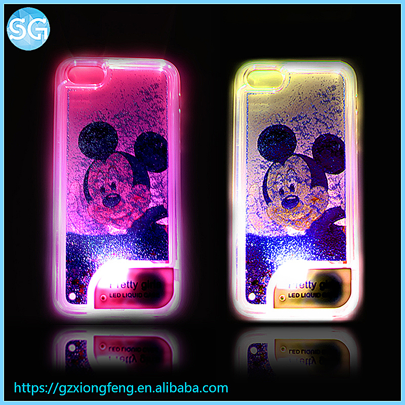 LED Light Glitter Beautiful Mickey Mouse Quicksand stars Cell phone cover for Iphone Liquid flow case for Iphone5