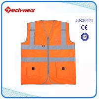 High Visibility 100% polyester workwear reflective fluorescent safety vest