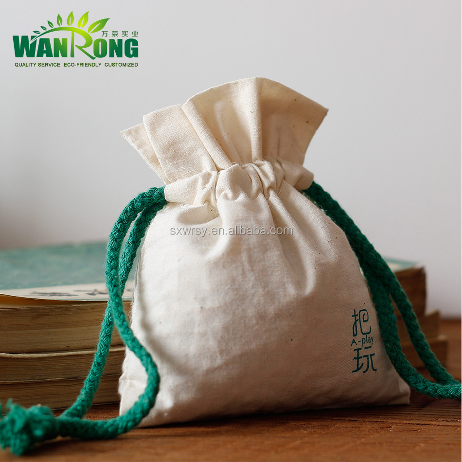 Customized logo eco friendly reusable drawstring cotton pouch
