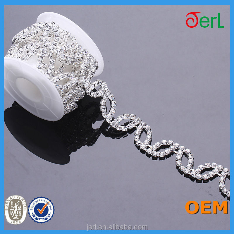 888 crystal clear stone shining rhinestone chain for wedding dress