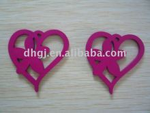 2cm heart with flower wooden jewelry accessory