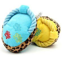 Soft Slipper Design Pet Sound Toy Cotton Rope Paw Print BB Squeaky Plush Toy for Dog