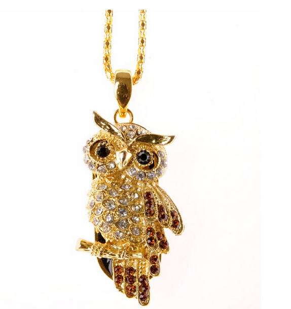 metal and crystal owl usb flash drive