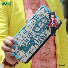 hot selling horse and cart women long <strong>wallet</strong> with detachable wrist strap