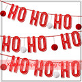 Red Christmas Honeycomb Garland Ho Ho Ho - Frireplace Bunting Hanging Decorations