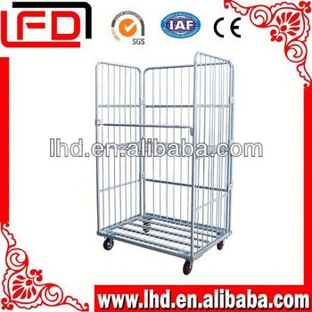 Metal foldable wire mesh roll logistics trolley with casters