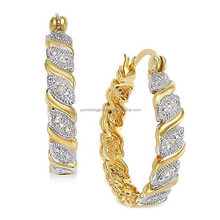 Gold plated Fashion 925 Sterling Silver Hoop Earrings with White CZ