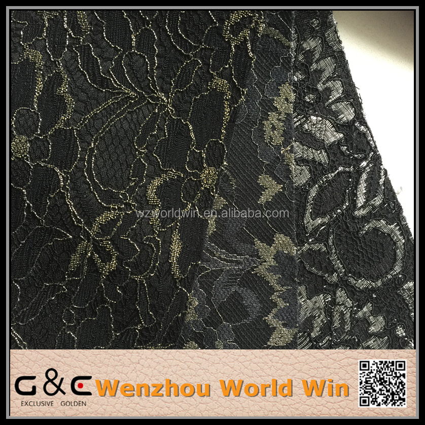 New design PU fabric leather with flower lace