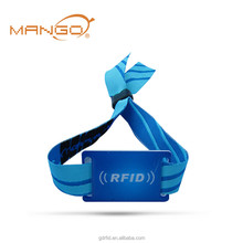 NFC disposable hf fabric rfid woven wristband for festival