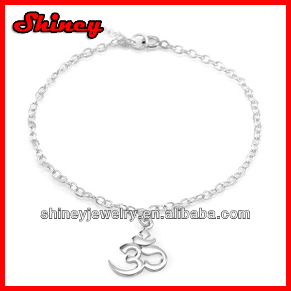 Chuvora 925 Sterling Silver Om, Ohm, Aum, India Yoga Symbol Charm Chain 7''-8'', Fashion yoga bracelet