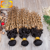 Factory Low Price Full Cuticle virgin human hair weaving loose curly ombre dark roots 1B/#27 hair extension