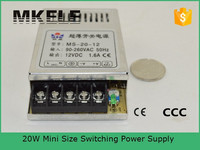 MS-20-12 ultra-thin type mini transformer 12v 1500ma power supply ac to dc single output