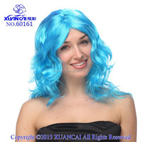 Wholesale cheap none lace wig synthetic hair sky blue long curly wigs
