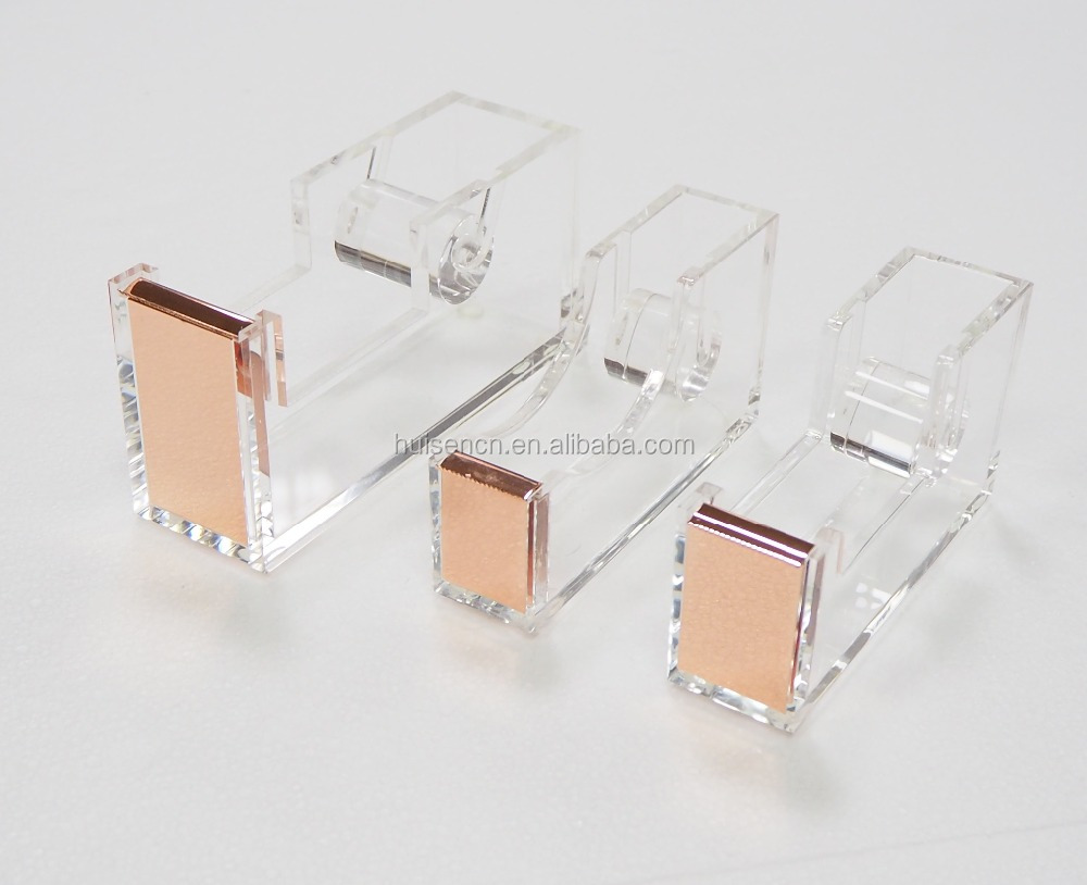Deluxe new promotion clear acrylic office stationery rose gold tape dispenser golden tape holder
