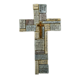 Religious Wall Crosses For Home/Church Decoration,Christians Words and Saying Crossword Resin Stoneware Wall Cross