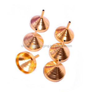 Small metal gold perfume funnels for filling small mini bottles