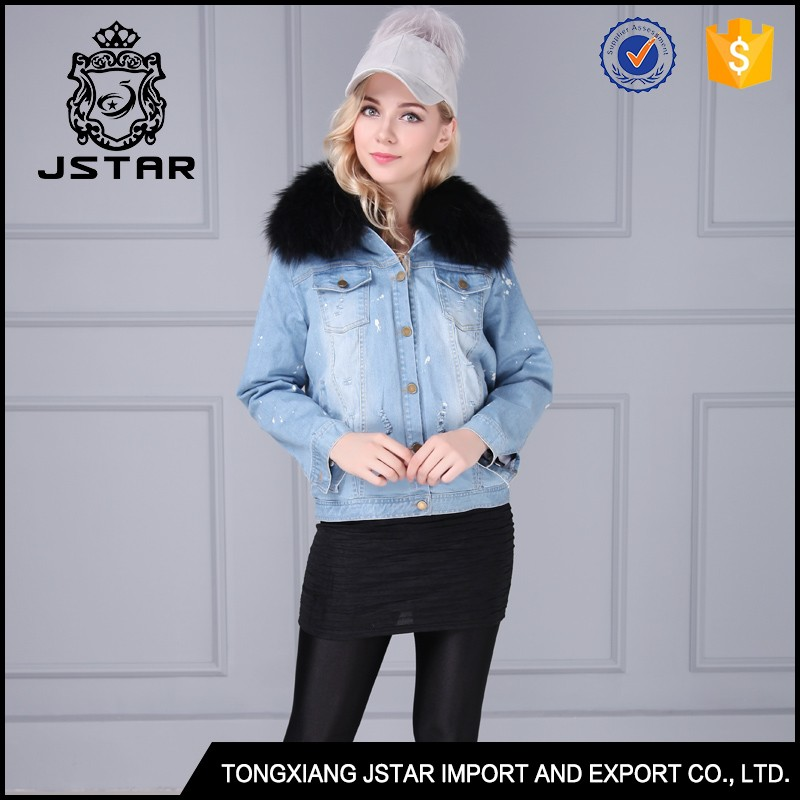 Men and women couple style warm fox fur lined real fur winter jean jackets