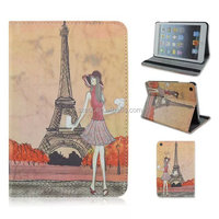 Eiffel Tower + girl printing PU leather case,Folio flip stand case for ipad 3,5 and ipad mini