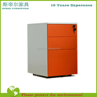 Mobile Office Furniture 3 Drawer Mobile Pedestal Filing/ red color filing drawer cabinet With Wheels